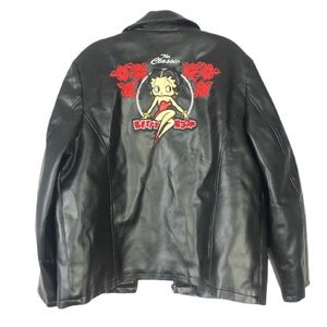 Betty Boop Vegan Leather Large Graphic Jacket